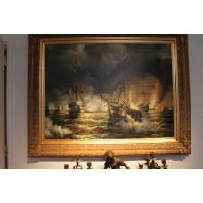 Painting. Pieter (?) L. (20ᵉ century) Oil on canvas. Sea battle.
