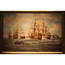 Painting. Corsius, F. L. (20ᵉ century) Oil on canvas. Sea battle