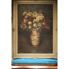 Painting. Bag. A (20ᵉ century) Oil on canvas. Still life, flowers.