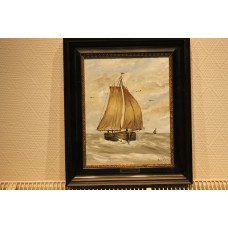 "Painting Valk, A. v.d. (20ᵉ century) Oil on panel. ""Fishing boat at sea"""