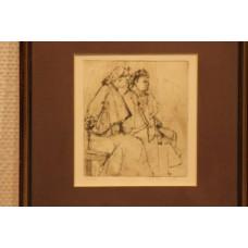 Helden, Hans (20ᵉ century) little etching in frame. Two women