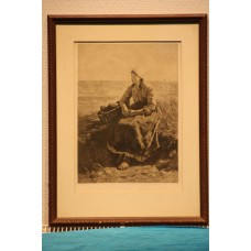 In Artz, D.A.C. 18-12-1837 / 8-11-1890 Print, Framed. (19ᵉ century) Fisherman's Woman in the Dunes 34 x 24 cm.