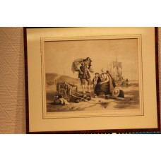 Litho in frame 19ᵉ / 20ᵉ century Fisher Family at the beach