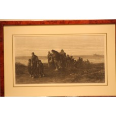 To Joseph Israel. Wood engraving, in frame, (19ᵉeeuw) Cortege fishermen with a drowning man at the beach