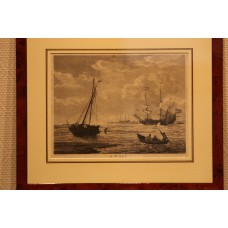 A. Gale, engraving, in frame, (18ᵉ century) Arrival, fishing boats