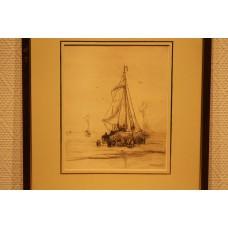 Mesdag 23- 2-1831 10-7-1915  Print in frame (19ᵉ century) Unloading fish catch on beach