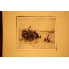Mesdag 23- 2-1831 10-7-1915  Print in frame (19ᵉ century) Boat making on beach