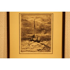 Mesdag 23- 2-1831 10-7-1915  Print in frame (19ᵉ century) Fishing boat at sea in ice