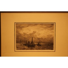 Mesdag 23- 2-1831 10-7-1915  Print in frame (19ᵉ century) Departure and arrival fishing boats beach