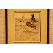Mesdag 23- 2-1831 10-7-1915  Print in frame (19ᵉ century) Fishing boat in the stranding