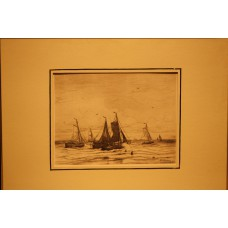 Mesdag 23- 2-1831 10-7-1915  Print in frame (19ᵉ century) Arrival fishing boats on the beach
