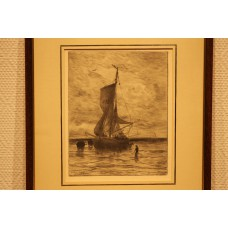 Mesdag 23- 2-1831 10-7-1915  Print in frame (19ᵉ century) Unloading fishing