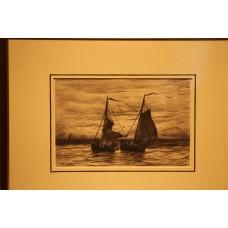Mesdag 23- 2-1831 10-7-1915  Print in frame (19ᵉ century) Transferring fishing