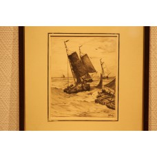 Mesdag 23- 2-1831 10-7-1915 Print in frame (19ᵉ century) Fishing boats after fishing home