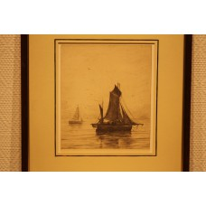 Mesdag 23- 2-1831 10-7-1915 Print in frame (19ᵉ century) Fishing boat on calm sea