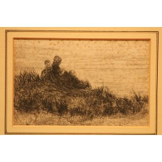 (19ᵉ eeuw) little etching in frame Fishermen's wives and children in the dunes