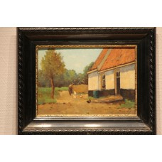 Painting Heijkoop J (20ᵉ century) Oil on panel in frame  Farmer with chickens by farm