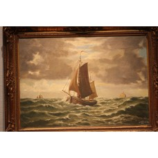 Painting  Kelderman  J.  (20ᵉ century) oil on canvas in gilded frame  Fishing boat on stormy sea