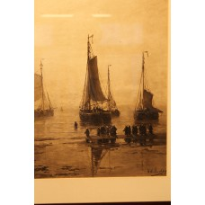 To H. W. Mesdag (19ᵉ-20ᵉ century) Color photo litho in frame  Fishermen and fishing boats