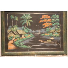 Son L  (20ᵉ century) mixed technique on canvas in frame  River with boat in Indonesia