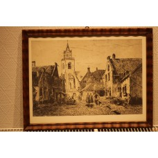 (20ᵉ century) etching in frame  Village with Figures