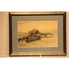 Bouwman (20ᵉ century) watercolor in frame  Moored little rowboat