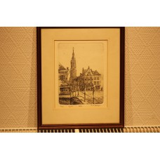 Doedijns Anna (20ᵉ century) etching in frame  View of the church in Delft