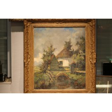 Painting Wiegman M. (20ᵉ century) 31 05 1886-5 041971 Oil on canvas in gilded ornaments frame Old mill in a stream