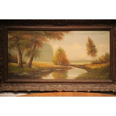 Painting (19ᵉ century) oil on canvas in gilded, ornaments frame  Landscape with trees along a stream
