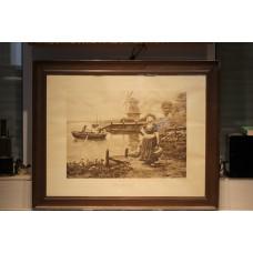 Houben H (20ᵉ century) Fecit pencil in frame  Milkmaid