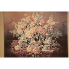 Japanese (20ᵉ century) Colour print in frame  Flowers, crystal and porcelain