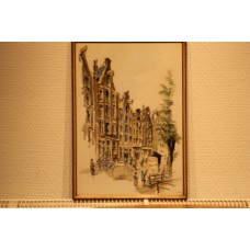To Harper (20ᵉ century) print in frame  Street in Amsterdam with pepper-pot