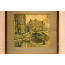 (20ᵉ century) Print in frame  Bow Bridge in Delft