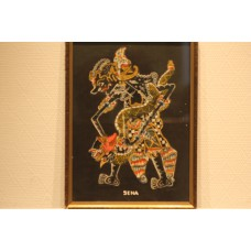 Sena (20ᵉ century) mixed technique on canvas in frame  Wajang doll