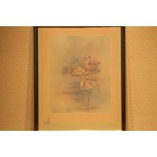 Moller (20ᵉ century) Print in frame  Flamingos