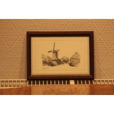 Bendervoet Joh.T. (20ᵉ century) Print in frame  Corn mill De Hoop in Papendrecht 1910