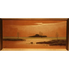 Painting, H.? (20ᵉ century) Pastel in frame Water landscape