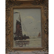 Gemälde (20ᵉ century) Oil on panel in gilded ornaments frame  Arrival fishing boat