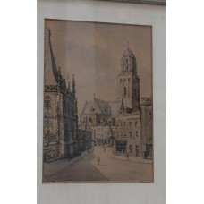 Nobbel B (20ᵉ century) Lithographs in frame  Great Church in Zwolle