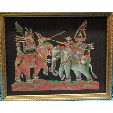 Thai school (20ᵉ century) Embroidery in frame behind glass UV  Fighting with elephants