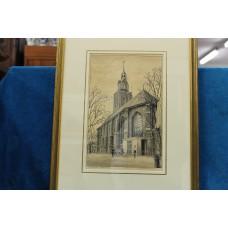 (20ᵉ century) Litho in frame Dutch Reformed Church