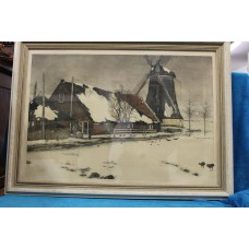 Bottema Tjeerd (20ᵉ century) geb. 06 februari 1884 overleden in Langezwaag in 1978  Color litho in frame Mill and farm in the snow
