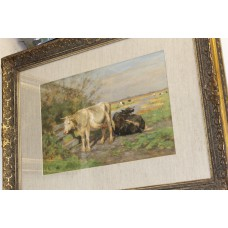 Painting Wolbers H G (20ᵉ century) Watercolor in gilded ornaments frame Cows at fence
