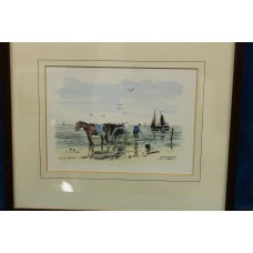 Painting Dijk van Ros (19ᵉ century) Hand Coloured lithograph in frame North Sea beach