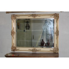 (20ᵉ century) Polished mirror in creamy white and gilt frame