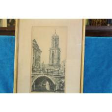 (20ᵉ century) Cornelis Brandenburg Etching in frame The Dom