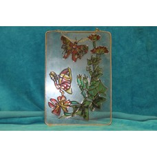 (20ᵉ century) glass and lead Butterflies with flower decor