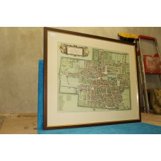 Staalstadt Jan (20ᵉ century) Color Lithograph in frame Resort map The Hague in 1900