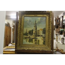 Painting (19ᵉ century) Oil on canvas in gold, ornaments frame Weeping Tower Amsterdam