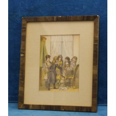 (20ᵉ century) Watercolor in frame with glass Girls in conversation
